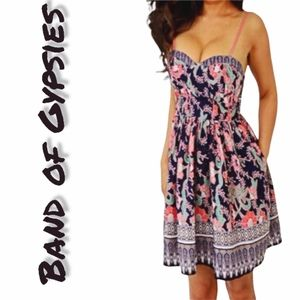 Band of Gypsies Fitted Black Floral Bustier Dress